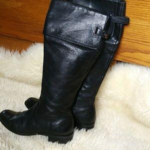 🍁 CALVIN KLEIN Knee High Rider Black Boots